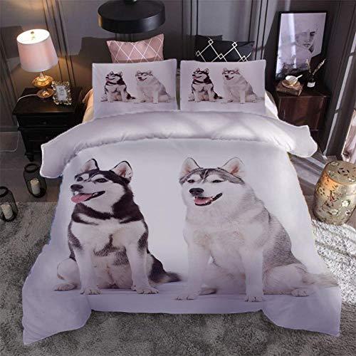 GenericBrands Juego de Cama Dos Perros esquimales Juego de Funda de Edredón Super Suave, Apto para Cualquier Dormitorio, con 2 Fundas de Almohada, tamaño personalizable-220x240cm