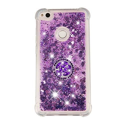 Everainy Funda Compatible para Huawei P8 Lite 2017/P9 Lite 2017 Silicona Transparente Brillante con Anillo 3D Glitter Liquido Transparent Case Caucho Bumper Antigolpes Bling Carcasa (púrpura)