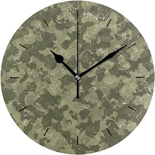 XXSCXXSC Wall Clock Camo Round Diameter Silent Decorative For Home Office School