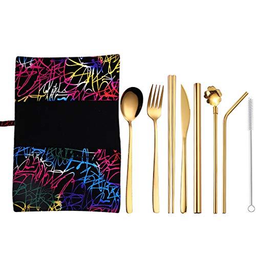 Y56(TM) Besteck, 9 Stück Edelstahl Besteck Set Service für 1 Personen, Bestecksets für Haus, Küche, Party, Restaurant, Monobloc-Messer, spülmaschinengeeignet (C, L)