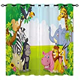 """YUANZU Kids Blackout Curtains for Bedroom, Cartoons Jungle Animals Zoo Family 3D Pattern Eyelet Thermal Insulated Printed Curtains for Playroom Nursery, Set of 2 Panels W117cm (46"""") x D137cm (54"""")"""