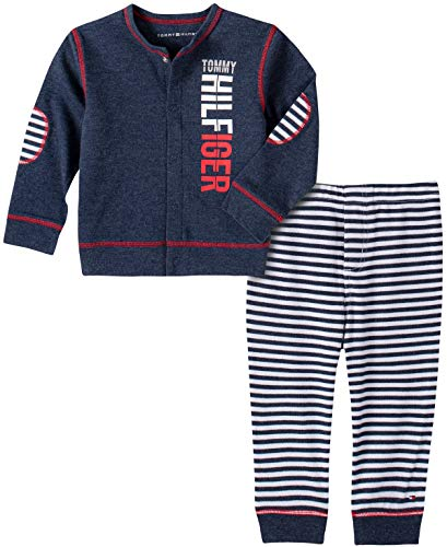 Tommy Hilfiger Baby Boys' 2 Pieces Cardigan Pants Set, Navy, 18M