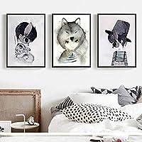 北欧の妖精の森のポスター漫画ウサギエルフキャンバスプリント保育園の壁アート水彩画キッズルーム男の子の部屋の装飾画像30X40cmX3フレームなし