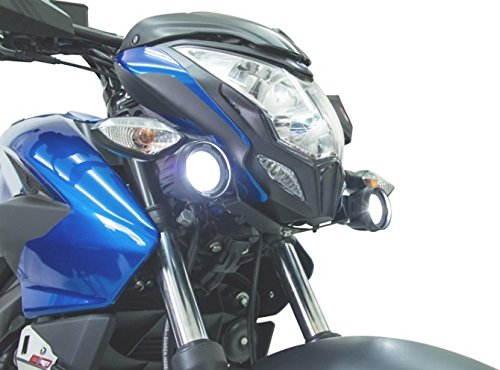 Kit 2 Exploradoras Led con Base (Faros) Marca Fire Parts, Accesorio para Motocicleta Bajaj Modelos Pulsar…