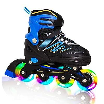 Hiboy Adjustable Inline Skates with All Light up Wheels, Outdoor & Indoor Illuminating Roller Skates for Boys, Girls, Beginners (Blue, Large-5-8)