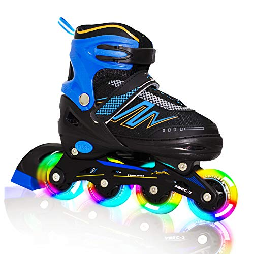 Hiboy Adjustable Inline Skates with All Light up Wheels, Outdoor & Indoor Illuminating Roller Skates for Boys, Girls, Beginners (Blue, Medium-2-5) …