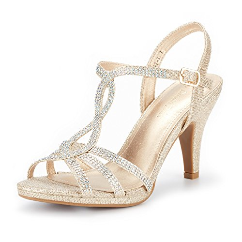 DREAM PAIRS Women's Amore_3 Gold Glitter Fashion Stilettos Open Toe Pump Heel Sandals Size 9 B(M) US
