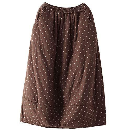 Kilt Falda Escocesa Falda De Algodón con Estampado De Otoño Invierno para Mujer, Faldas Largas Y Gruesas con Cintura Elástica, Falda Vintage Holgada para Mujer, Talla Única De Café