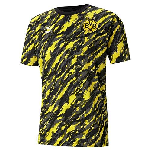PUMA BVB Iconic MCS Herren Fußball-T-Shirt mit Grafikprint Puma Black-Cyber Yellow S