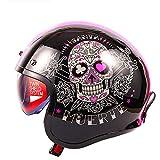 Casco moto mezza faccia DOT/ECE retro Harley Motocicletta casco con cappuccio teschio,casco mezzo moto aperto certificato per bici cruiser Chopper ciclomotore ATV, per uomo donna A,2XL(59~60cm)