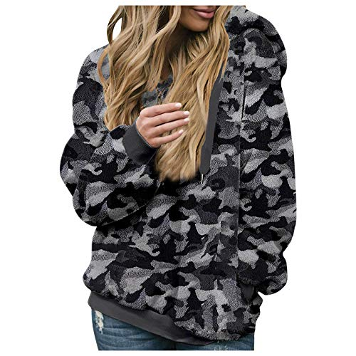 Okseas Pullover Damen Hoodie Winter Lose Warm Camouflage Kapuzenpullover Teddy-Fleece Mehrfarbig Langarm Oversize Sweatshirt mit Kapuze