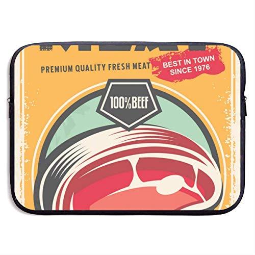 Retro Blechschild Frischfleisch Werbeartikel 13/15 Zoll für MacBook Air 13 15 ProPortable Zipper Laptop Tasche Tablet Tasche