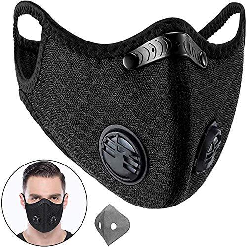 Mayzo スポーツマスク バイク 防風 防寒 アウトドア マスク 洗える 再利用可能 自転車 フィルター マスク 排気ガス ブラック 男女兼用
