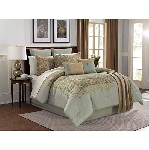 Riverbrook Home San Sebastian Comforter Set, Queen, Aqua 14 Piece