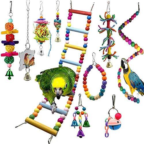 EPMEA0 10 Piezas de oscilación pájaro Perca Hueso de Juguete Juguete de Aves de Jaula Loro con Madera Colgante de Perlas y la Campana Hamaca fácil de Instalar (Color : White)