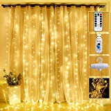 Curtain Lights 300 Led Window Curtain String Light with 8 Modes Remote Control Curtain...