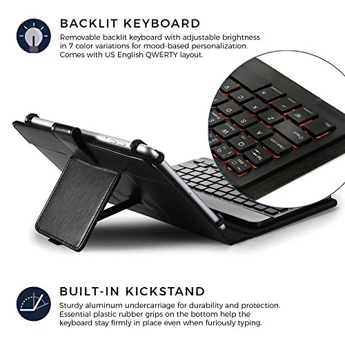 HP Pro Slate 8, Pro Tablet 408 G1 keyboard case, COOPER BACKLIGHT EXECUTIVE 2-in-1 Backlit LED Bluetooth Wireless Keyboard Leather Travel Cover Folio Portfolio Stand with 7 Colors (Black)
