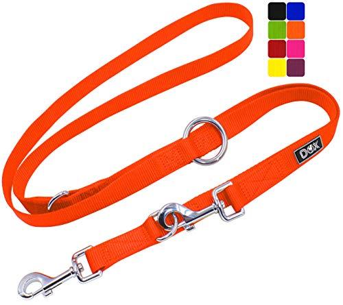DDOXX Hundeleine Nylon, 3fach verstellbar, 2m | für kleine & große Hunde | Doppel-Leine Zwei Hund Katze Welpe | Schlepp-Leine groß | Führ-Leine klein | Lauf-Leine Welpen-Leine | M, Orange