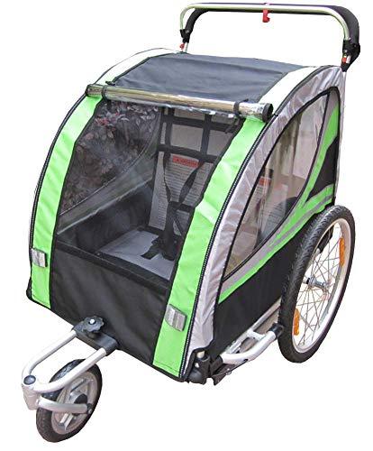 Fahrrad-Anhänger - 123 X 76 X 107 cm - Jogger Kit in Aluminium Rahmen - Baby Anhänger Kinderwagen