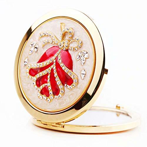 Miroir de Maquillage Compact, Miroir de Maquillage Mini Voyage Illuminée Portable Miroir HD Double Face Pliable pour Sac à Main Voyage de Poche (Ronde)