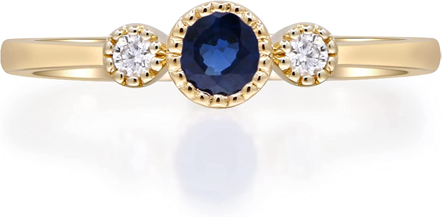 Gin & Grace 10K Yellow Gold Genuine Blue Sapphire and Natural Diamond (I1) Ring for Women.