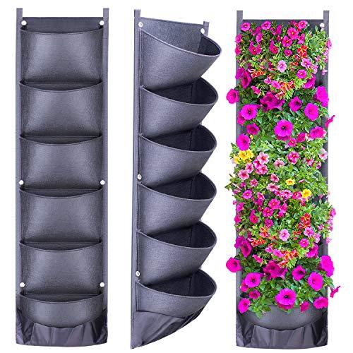 Danolt - Fioriera verticale da giardino da appendere, con 6 tasche, design innovativo, impermeabile, ideale per decorare il giardino o la casa (2020)