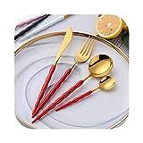 El almuerzo pesado Set de cubiertos de 16 piezas de acero inoxidable cubiertos conjunto occidental vajilla Pulido Espejo Cuchara Tenedor Cuchillo cucharadita de vajilla Para envío de la gota, 4 sets1