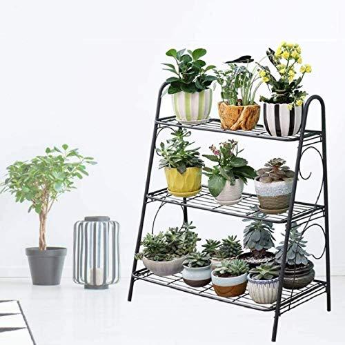 POETRY Estante de Flores de Metal de 3 Niveles Soportes de Plantas al Aire Libre para la decoración del hogar Escalera Soporte de exhibición de Plantas Unidades de estanterías de jardín de Arte de