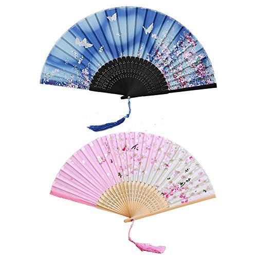 Ealicere 2 Pezzi Ventilatore di bambù Seta a Mano Ventaglio Pieghevole Piegante Ventilatore con Donna delle Nappe Ventilatori per Parete di Decorazione, Regalo Tenuto in Mano per Regalo