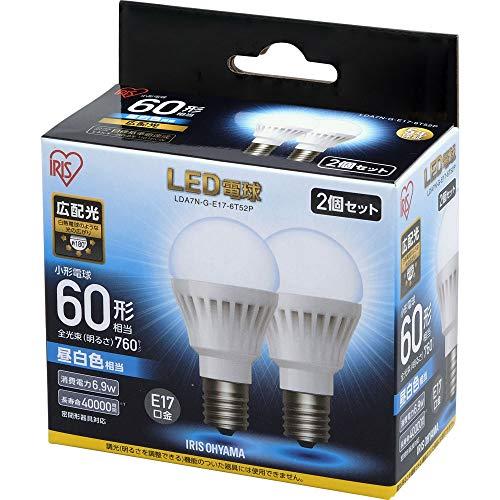 アイリスオーヤマ LED電球 E17 広配光タイプ 60W形相当 昼白色相当 2個セット LDA7N-G-E17-6T52P