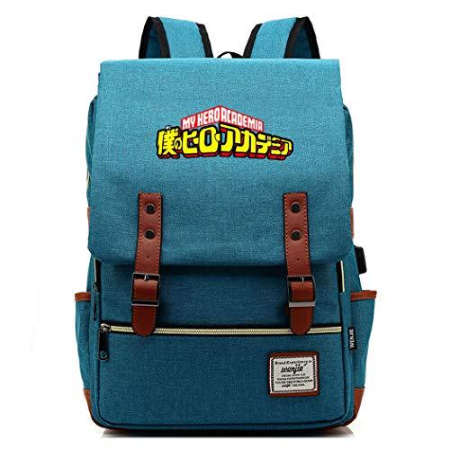 WANHONGYUE My Hero Academia Anime Mochila de la Escuela Bolsas Escolares Clásico Mochila para Portátil de 15,6 Pulgadas con Puerto de Carga USB Deep Sky Blue / 1