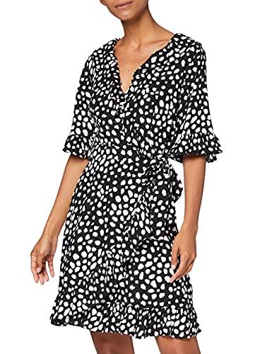 Amazon-Marke: find. Damen Mini-Wickelkleid, Schwarz (Black Spot),42,Label: S