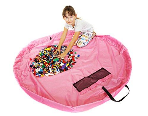 Kinder Aufräumsack Spieldecke Aufbewahrungssack Beutel Speicher Tasche Spielzeug 160 cm Rosa [055]