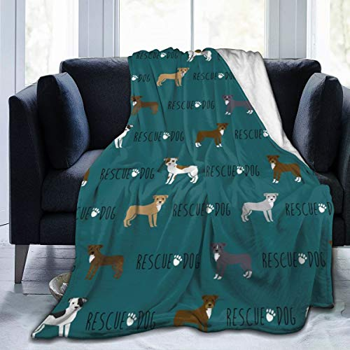 magic ship Fleecedecke 50 x 60 Zoll Pitbull Rettungshund niedliche Hunde Pitty Pibble Design Home Flanell Fleece weiche warme Plüsch Decke für Bett Couch Sofa Büro Camping