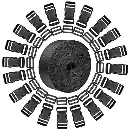 20 Piezas Hebillas de Plástico Lateral Plano de Liberación y 20 Piezas Clips de Ajuste de Triglide Compatible y 10m Correa de Nylon Negro, para Hacer Bricolaje Correa de Equipaje, Collar de Mascota