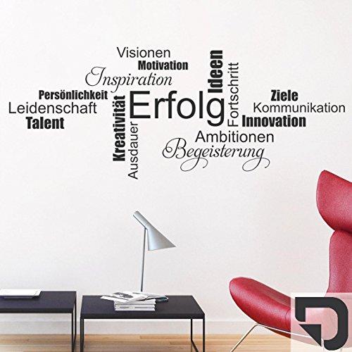 DESIGNSCAPE® Wandtattoo Wortwolke Erfolg Motivation Begeisterung Leidenschaft Kommunikation 120 x 48 cm (Breite x Höhe) dunkelgrau DW803353-M-F7