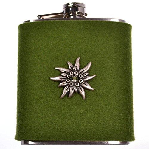 FLACHMANN aus Edelstahl | 7 OZ Hip Flask mit abnehmbarer Hülle aus Filz (Grün) | zur Tracht mit Edelweiss | Outdoor Trinkflasche mit unverlierbarem Deckel | Taschenflasche für Schnaps und Spirituosen