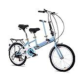 OUKANING Bicicleta Plegable de 20 Pulgadas para 2 plazas Doble para niños, Color Azul