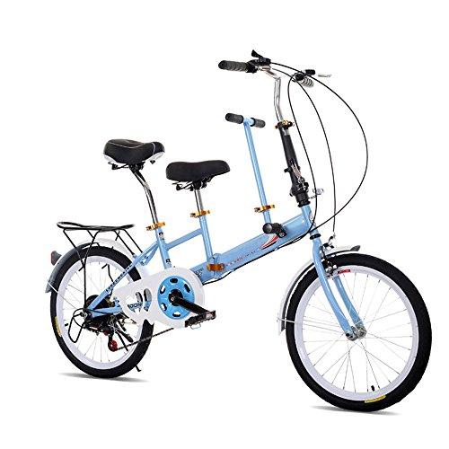 OUKANING 50,8cm klappbar Tandem Fahrrad Family Fahrrad 2-Sitzer Double Kinder Baby Blau
