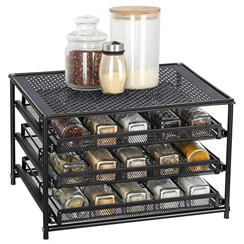 Spice Rack Organizer for Cabinet 3 Tier 30-Bottle Spice Drawer Storage Seasoning Shelves for Kitchen Pantry Countertop Metal Brown