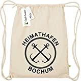 Shirtinstyle Organic Gymsack, Heimathafen Bochum, Urlaub, zu Hause, Campen, Ferien, Strand, Meer, See, Turnbeutel, Sport Beutel, Faitrade, Bio, Farbe Natur