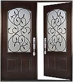 Fiberglass Double Front Door - Wrought Iron Glass Window Come with Jambs Knocked Down Prehung Finished in Dark MahoganyFMVAL Fiberglass Door (30'X30'X80', Dark Mahogany- Right Hand)