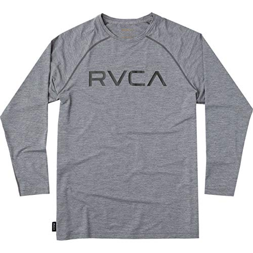 RVCA Men's Micro MESH Long Sleeve SURF T-Shirt, Grey Noise, S