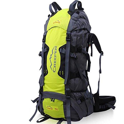 60L Sacs à dos hommes et les femmes sacs de voyage de poche Résine Mesh Alpinisme Imperméable , yellow