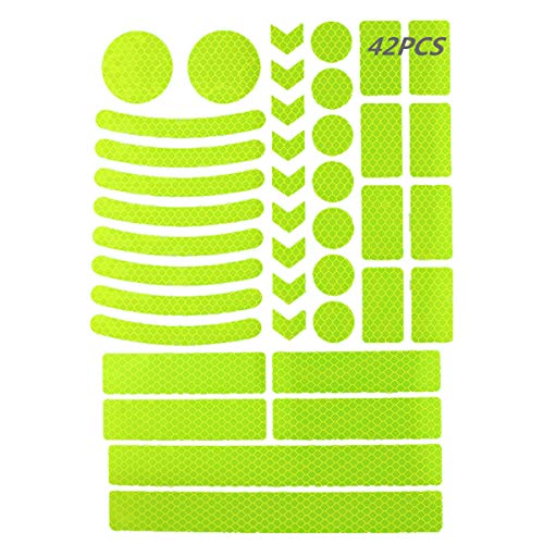 42Pcs Reflective Stickers, Reflective Helmet Bicycle Stickers, Reflective Decals, BikeReflective Tape, NightSafety StickersforBicycle, Wheelchairs, Motorbike, Helmet, Scooter (Green)