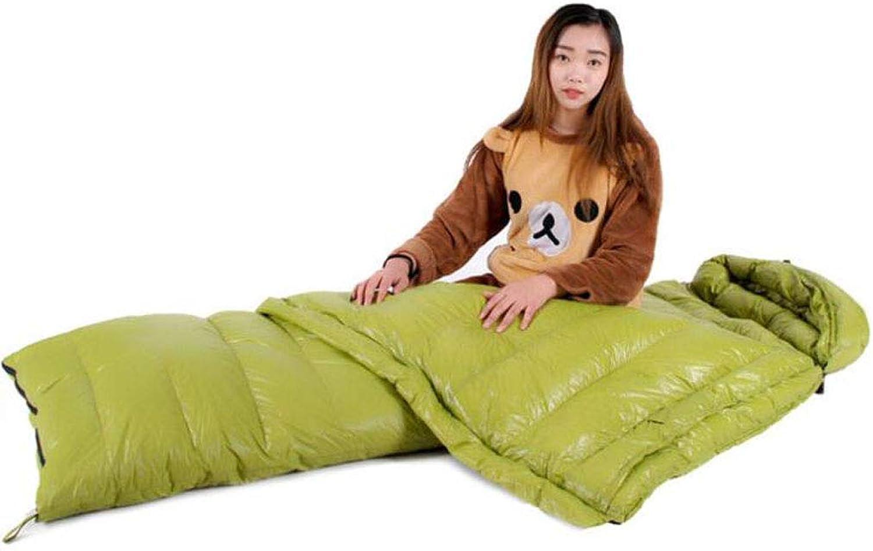 JBHURF Winter Daunenschlafsack Outdoor Camping Tragbarer Schlafsack Geeignet für Wandern (Kapazitt   2.0kg, Farbe   Grün)