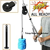 SYL Fitness LAT Pulley System with Loading Pin DIY Gym Cable Crossover Tricep Pulldown Attachment (Pulley System for Standard Weight Plates)