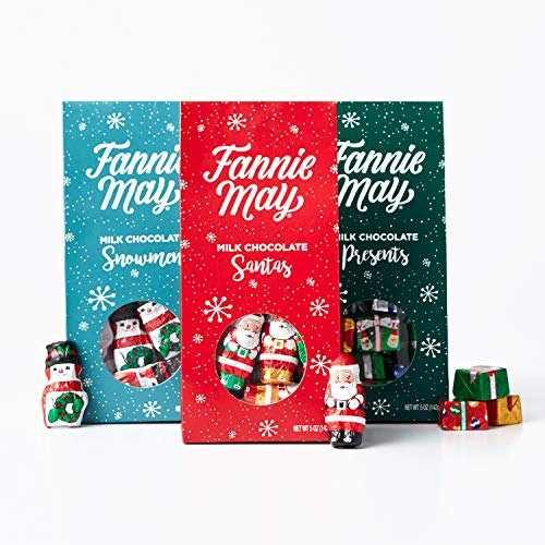 Fannie May Milk Chocolate Christmas Figures, featuring Santas, Snowmen, and Presents, assortment of 6 bags, 5oz, Perfect Stocking Stuffers