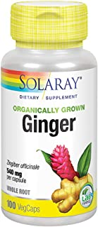 Solaray Organically Grown Ginger Root 540mg | Healthy Cardiovascular, Digestive, Joint & Menstrual Cycle Support | Vegan &...