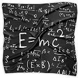 Fórmulas matemáticas y físicas para mujer, elegante, suave satén de seda, sensación elegante formal, bufanda de cuello cuadrado